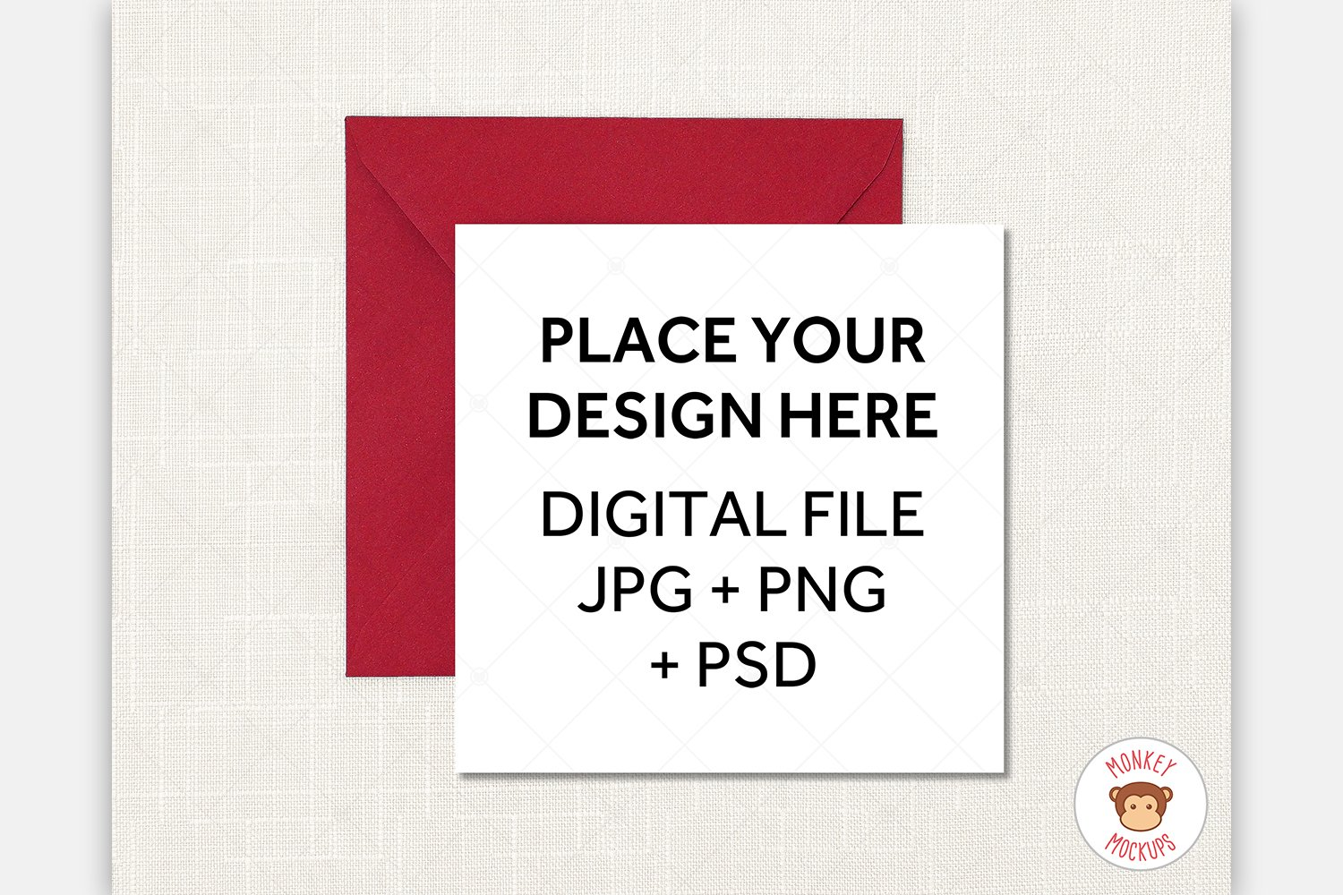 Square Card Mockup Red Envelope - JPG PNG PSD Smart Object example image 1