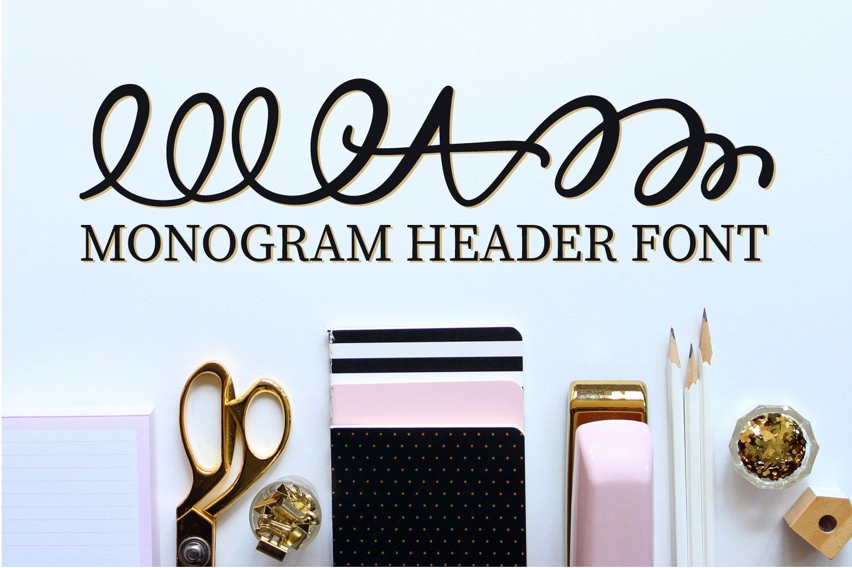 Monogram Header Font - A-Z Letters example image 1