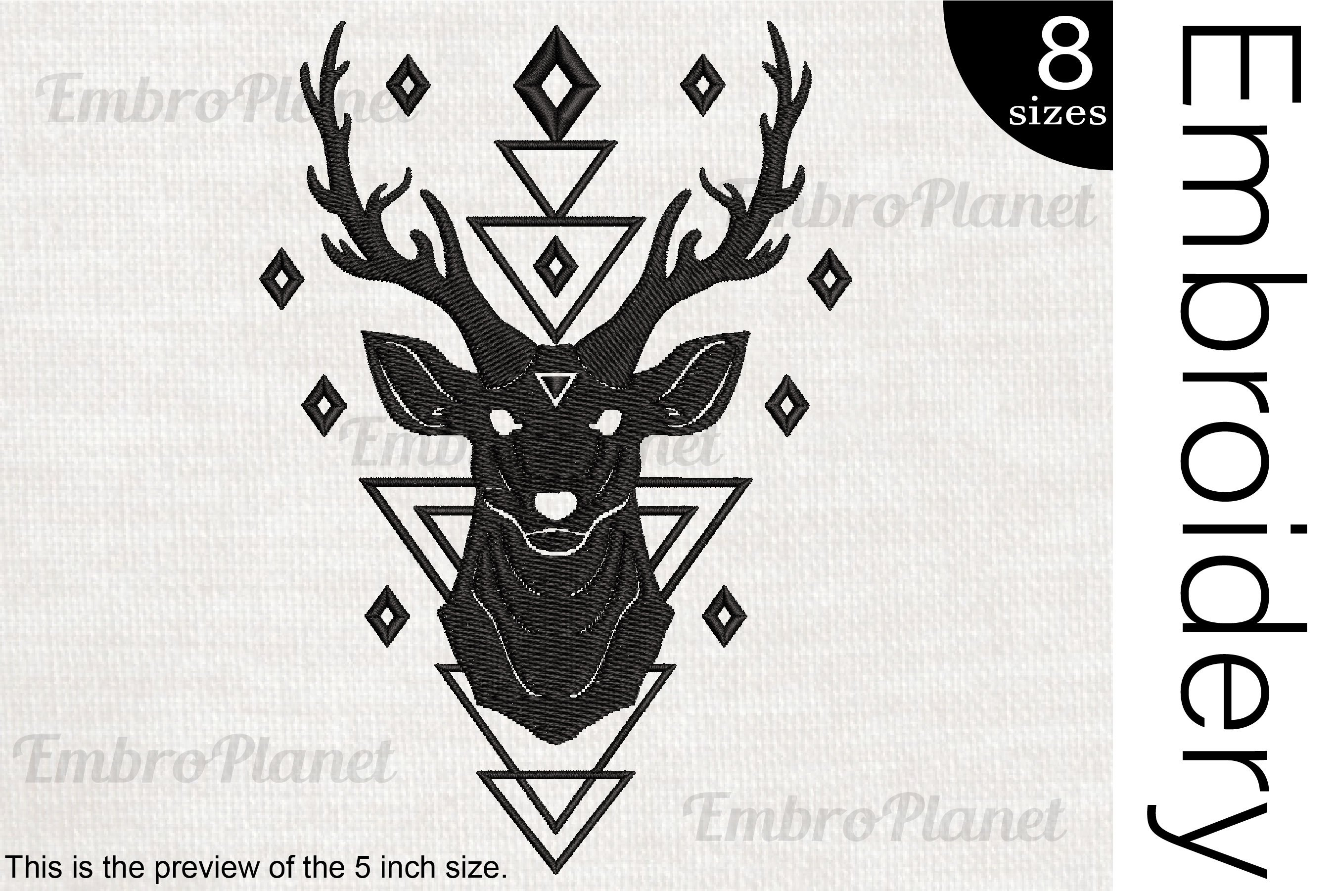 Geometric Reindeer - Embroidery Files - 1511e example image 1