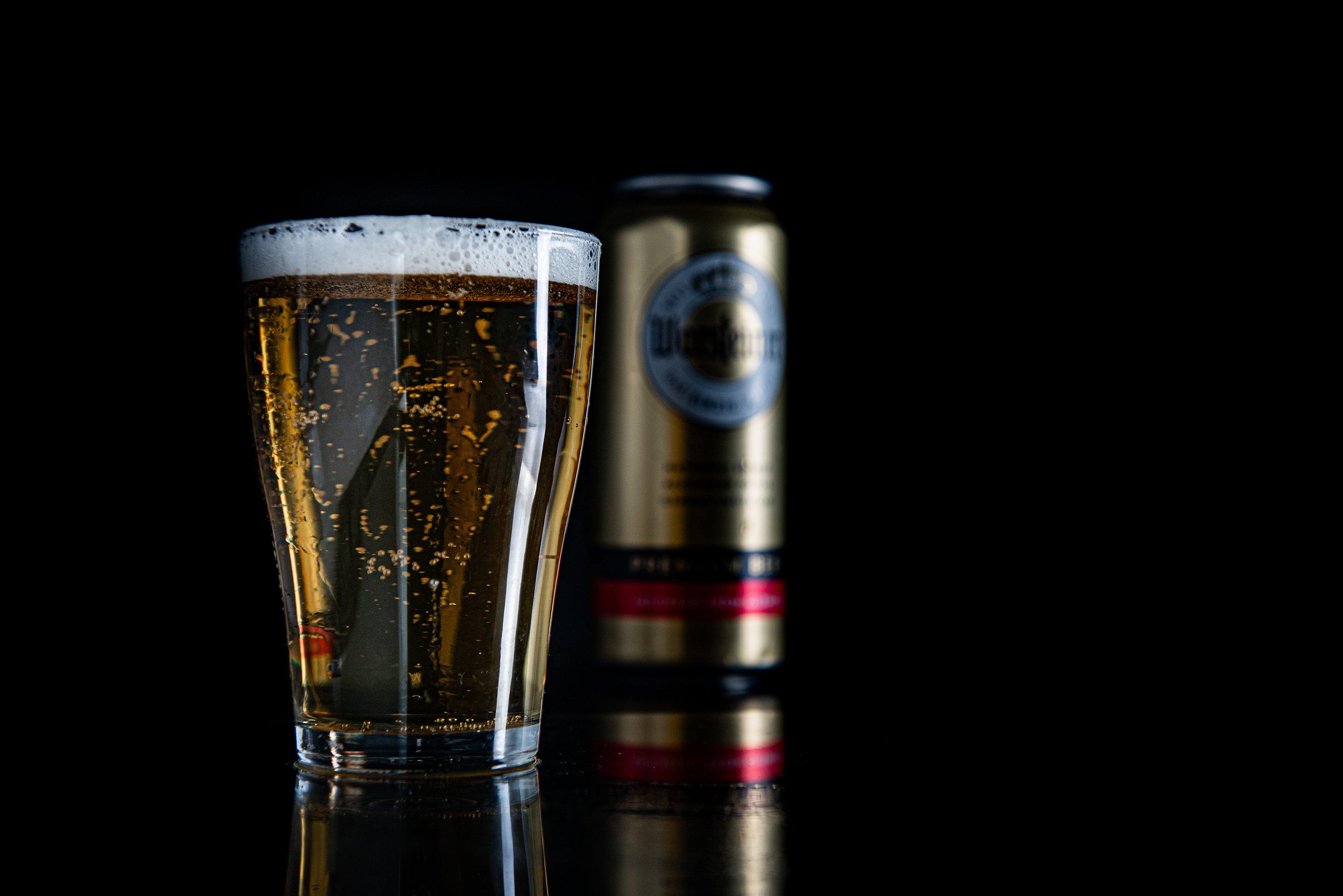Aluminium can of Warsteiner Beer on black background example image 1
