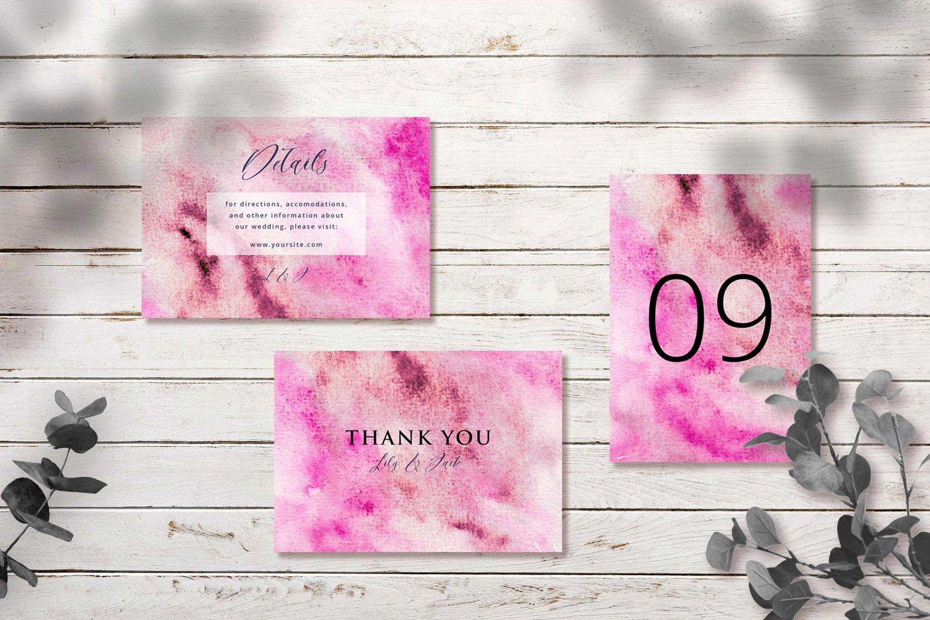 Abstract Pink Watercolor Wedding Invitation Set example image 2