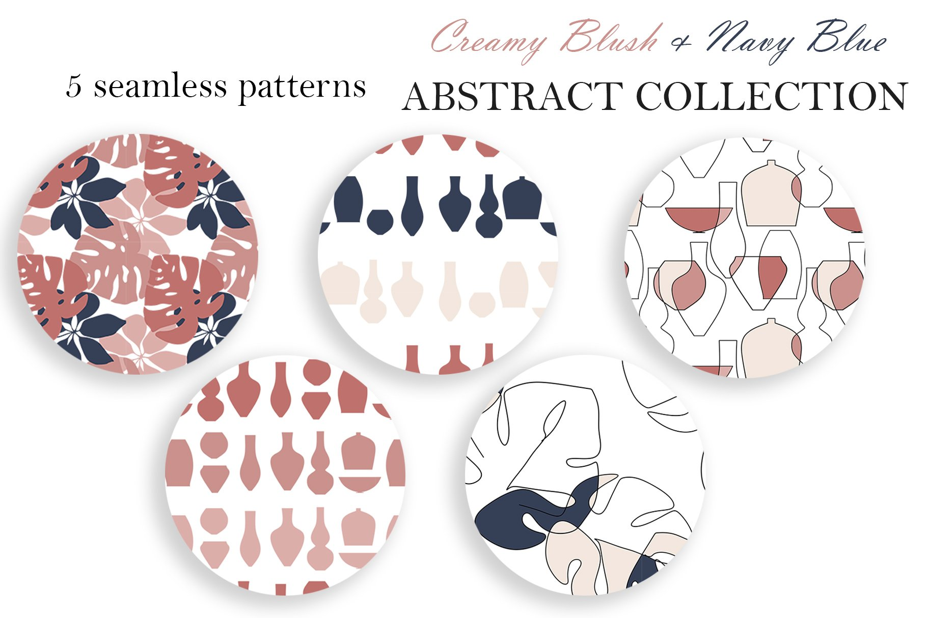 Abstract Collection CREAMY BlUSH & NAVY BLUE bundle prints example image 7