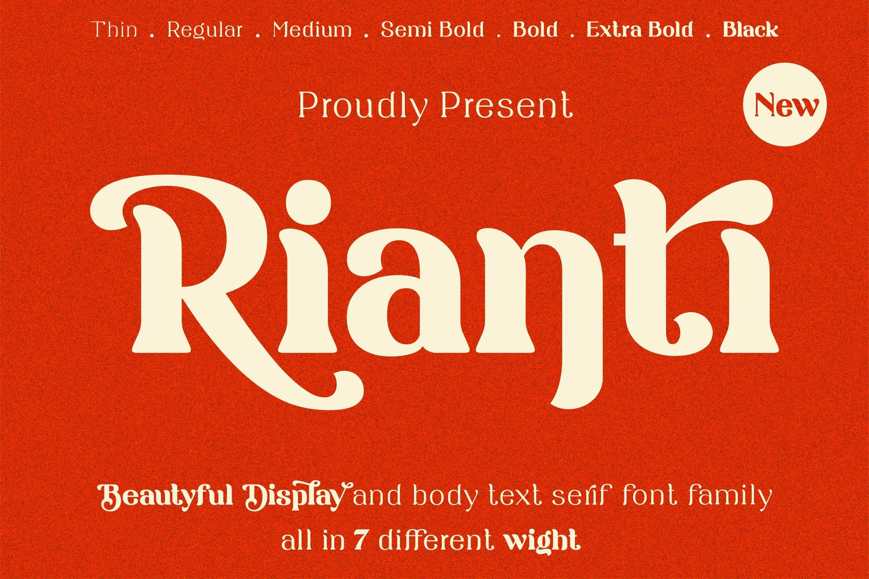 Rianti - beautiful serif font family example image 1