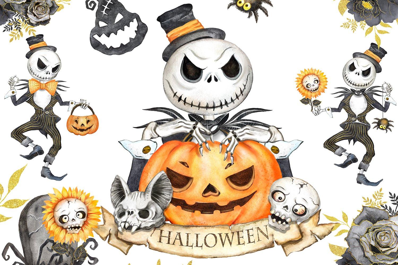 Halloween watercolor clipart, pumpkin, horror, skeleton