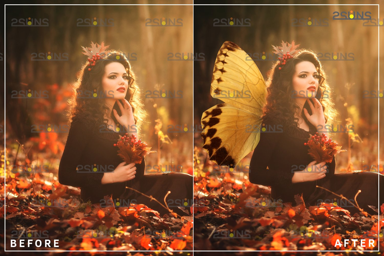 Colorful Butterfly Wings Photoshop Overlay example image 3