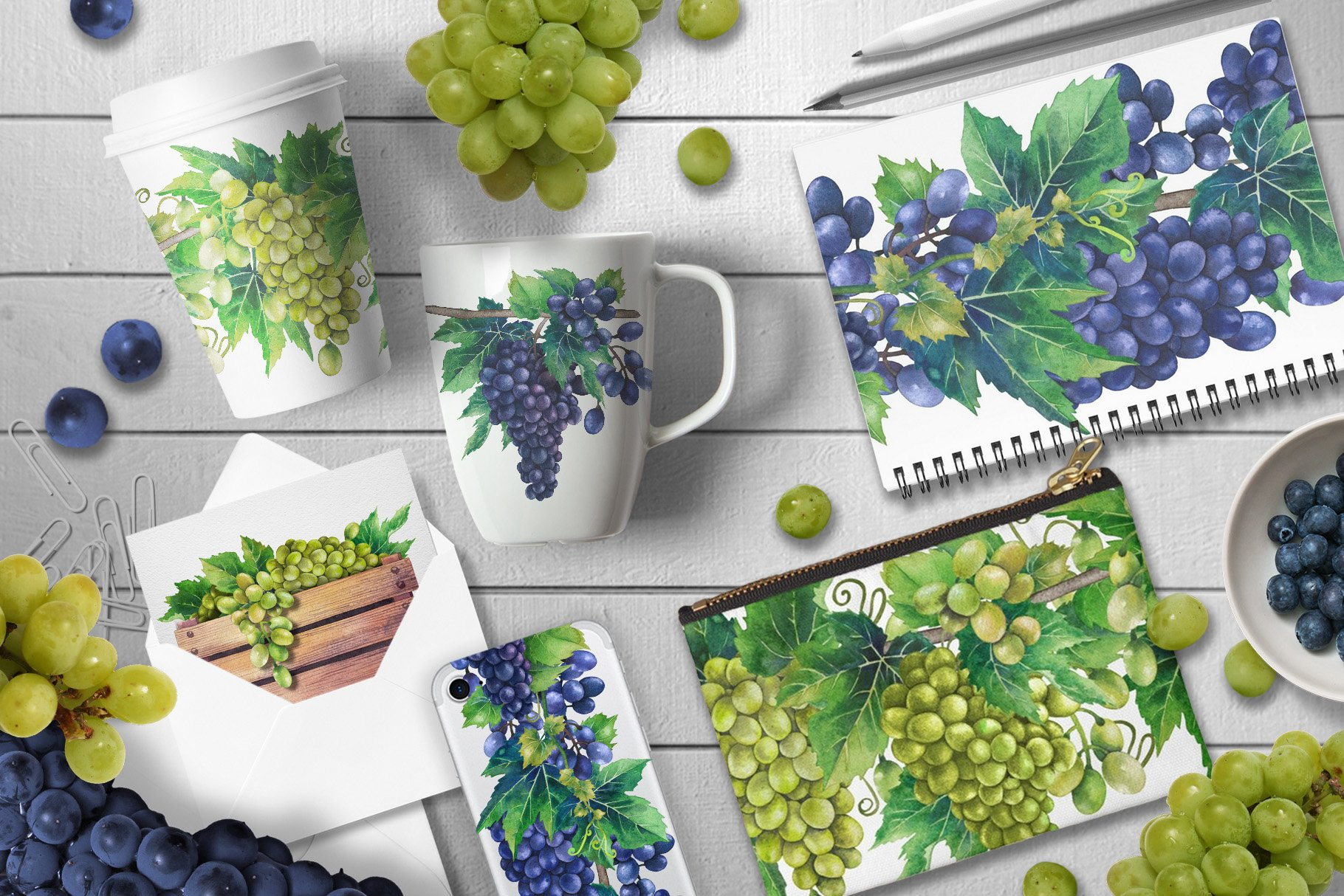 Watercolor Grapes example image 5
