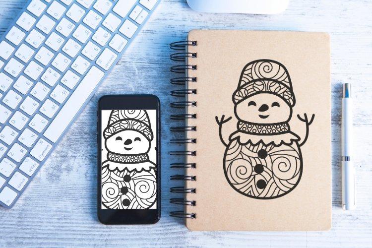 Snowman Doodle Mandala SVG example image 6