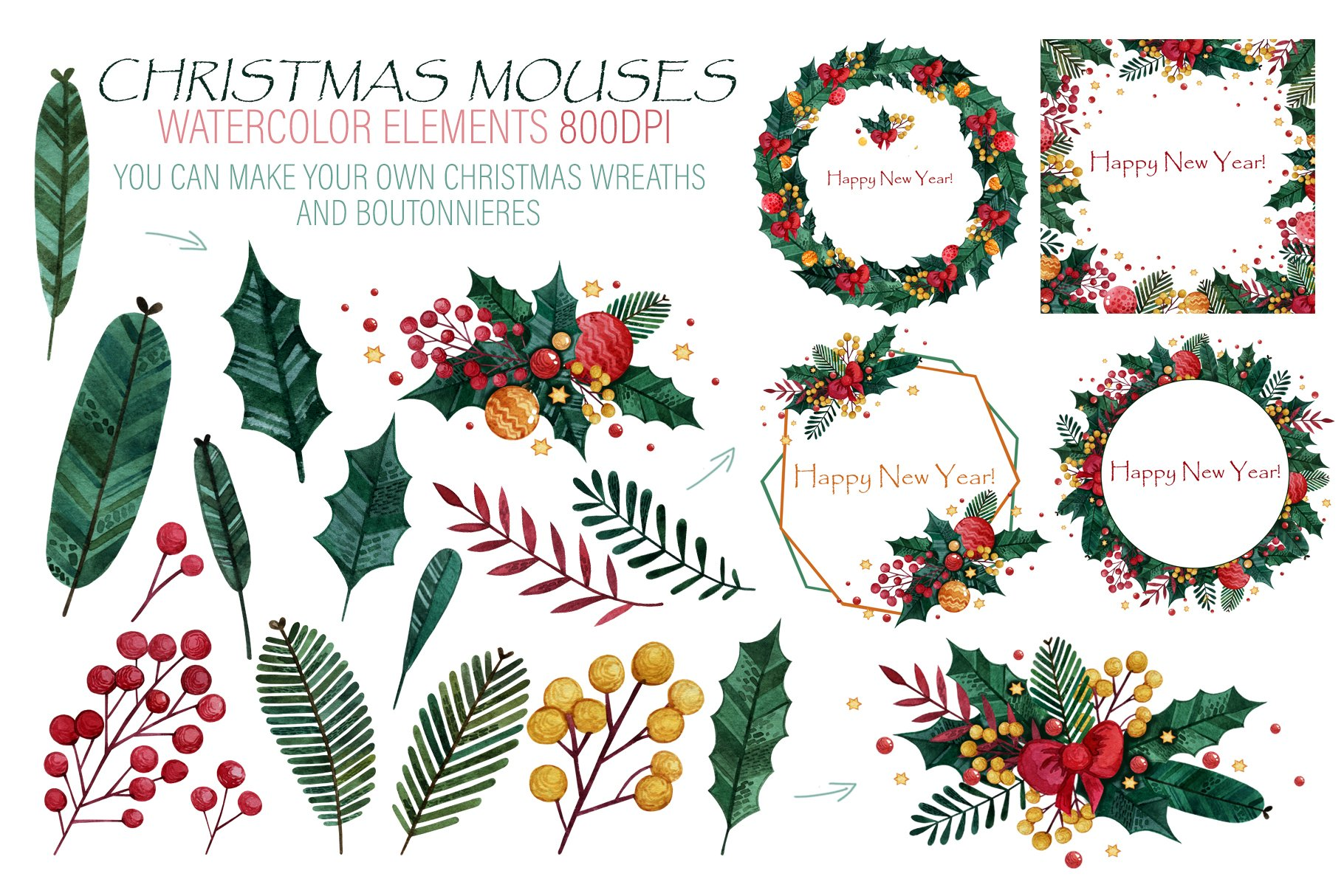 Christmas mouses watercolor collection example image 3