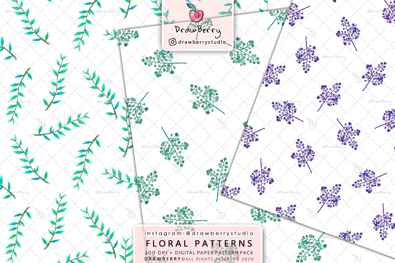Watercolor Floral Digital Paper Pack example image 5
