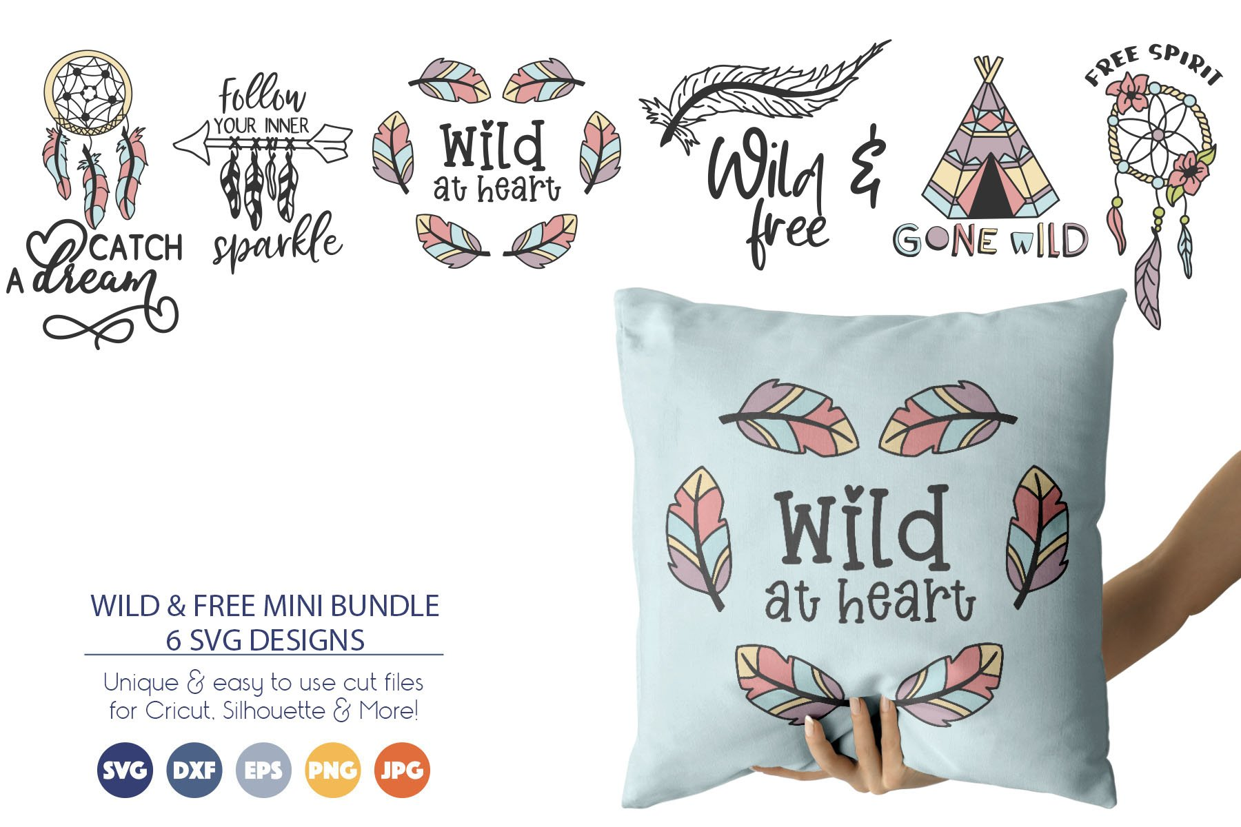Wild & Free SVG Bundle | Dreamcatcher SVG example image 1
