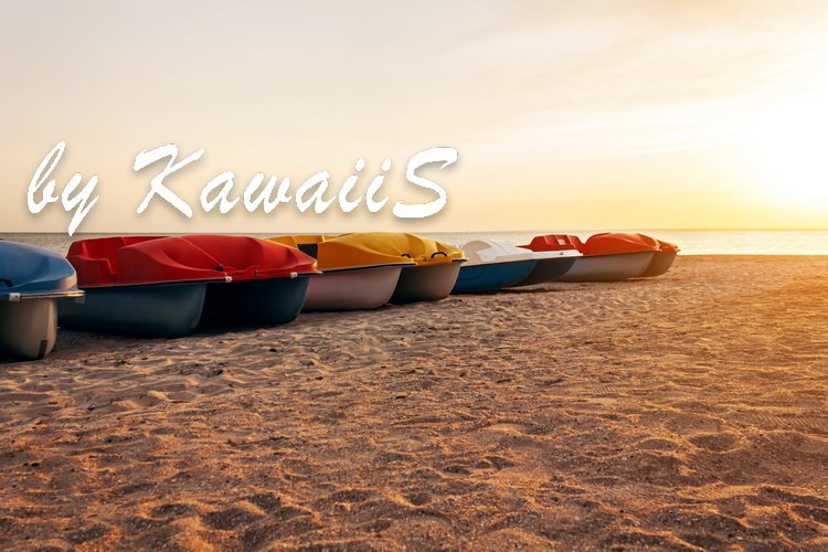 Colorful catamarans pedal boats on the sunset on a sea beach example image 2