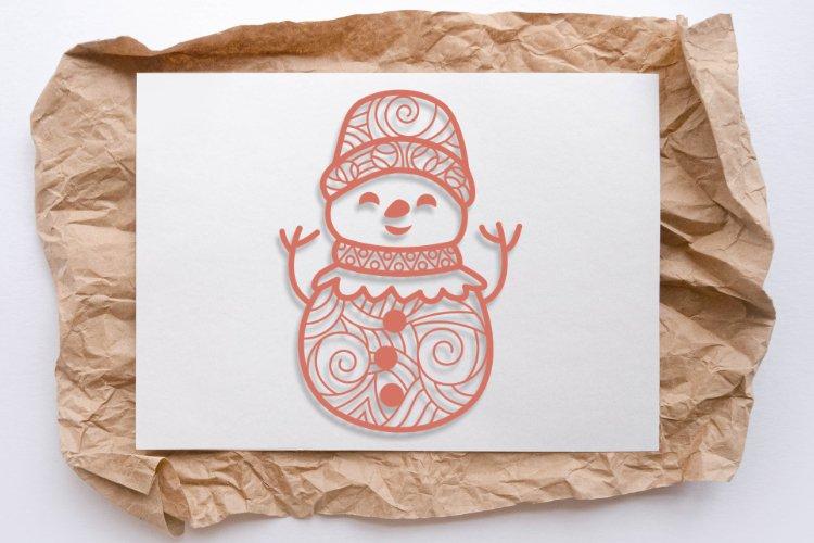 Snowman Doodle Mandala SVG example image 2
