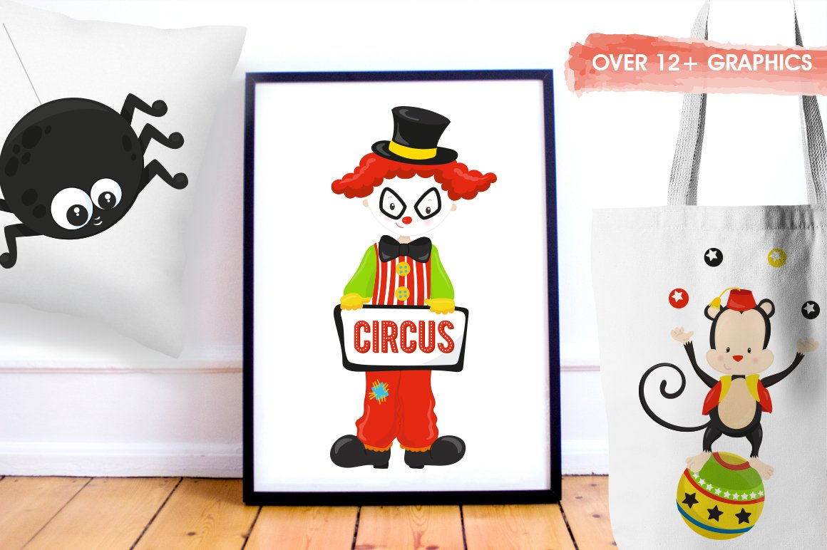 Halloween Circus Graphics and illustrations, vector example image 3