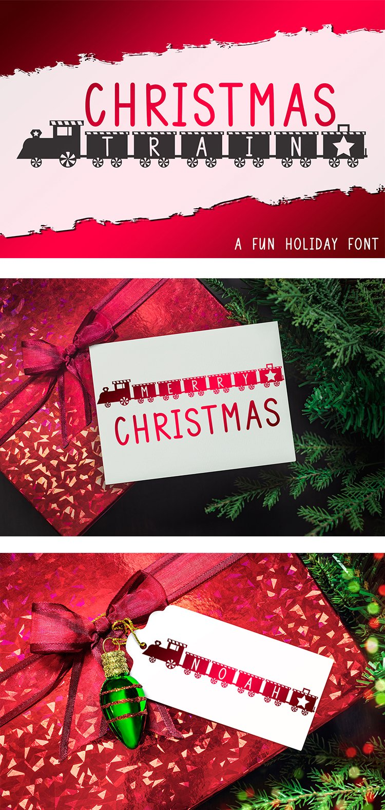 Christmas Train - A Fun Holiday Font example image 8