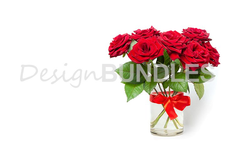 Bouquet of red roses in a glass vase on a white background. example image 1