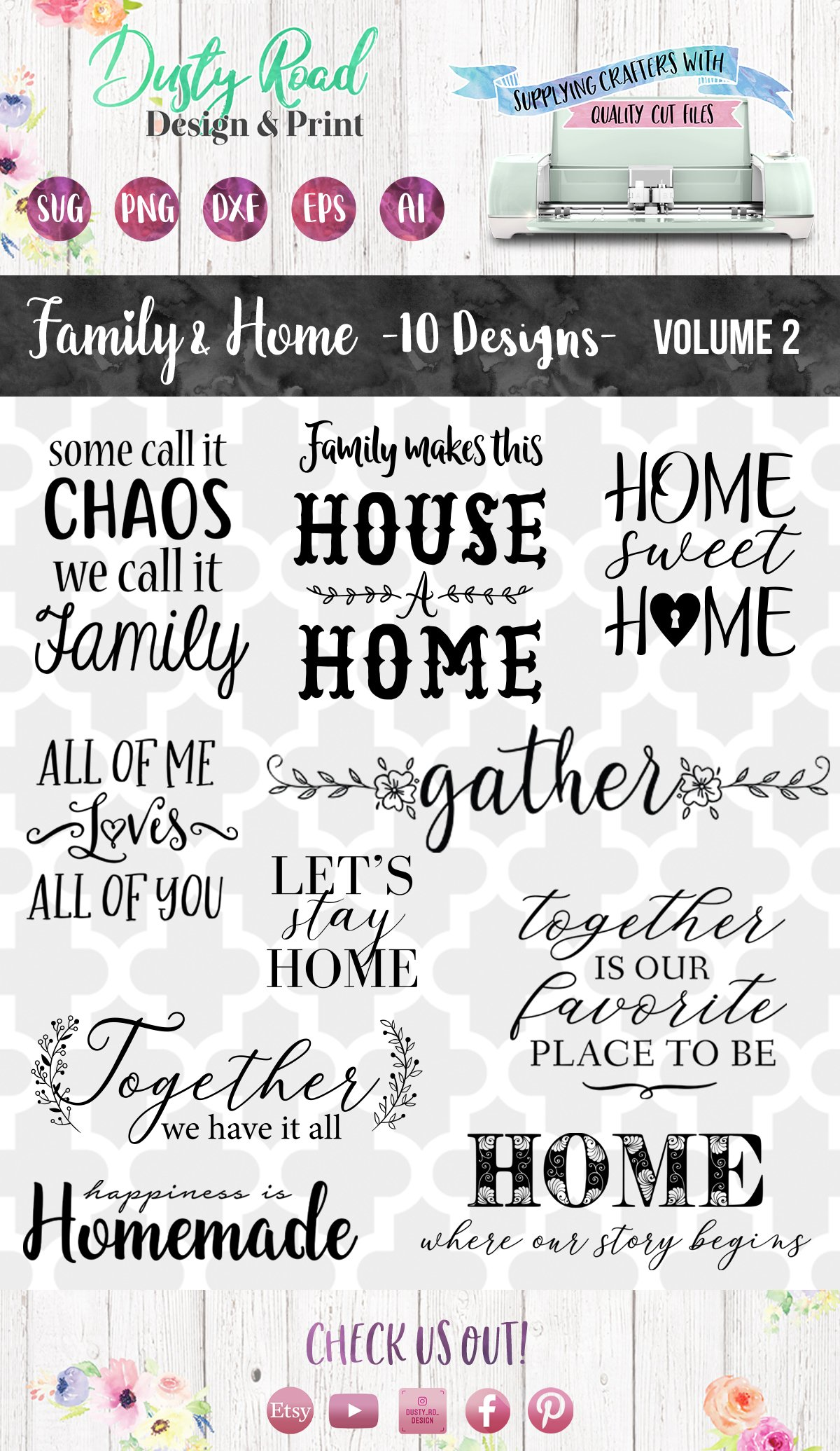 FAMILY & HOME- 10 designs - svg cut files Cricut Silhouette example image 2