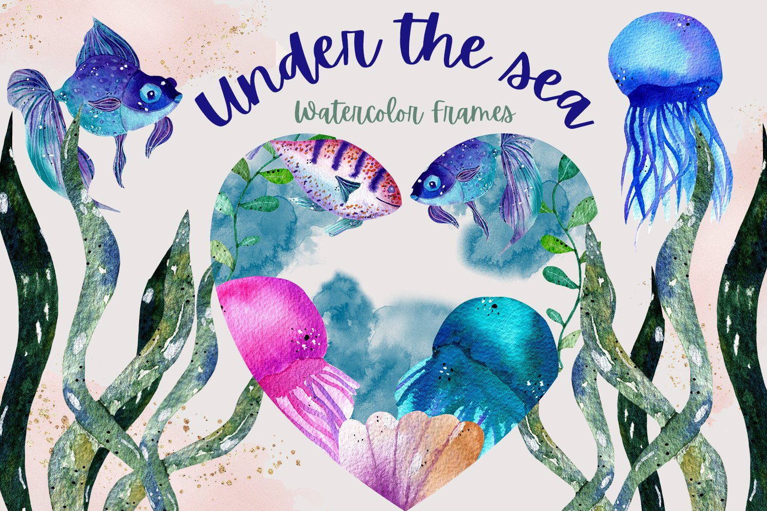 Under the Sea Watercolor Frames example image 1