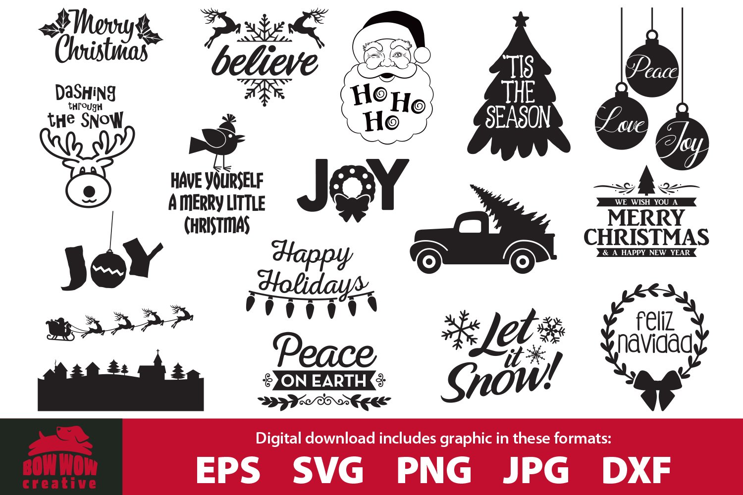 Get Merry Christmas Svg Bundle Quotes & Clipart PNG