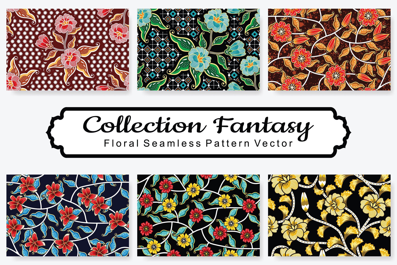 Set Of Fantasy Floral Vector Pattern Vol.17 example image 1