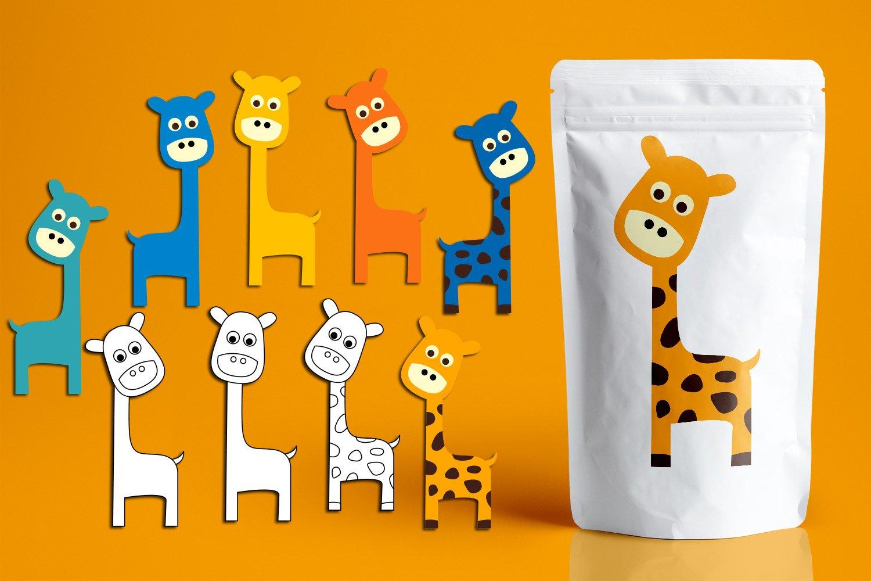 Panda Giraffe Owl clip art illustrations bundle example image 2
