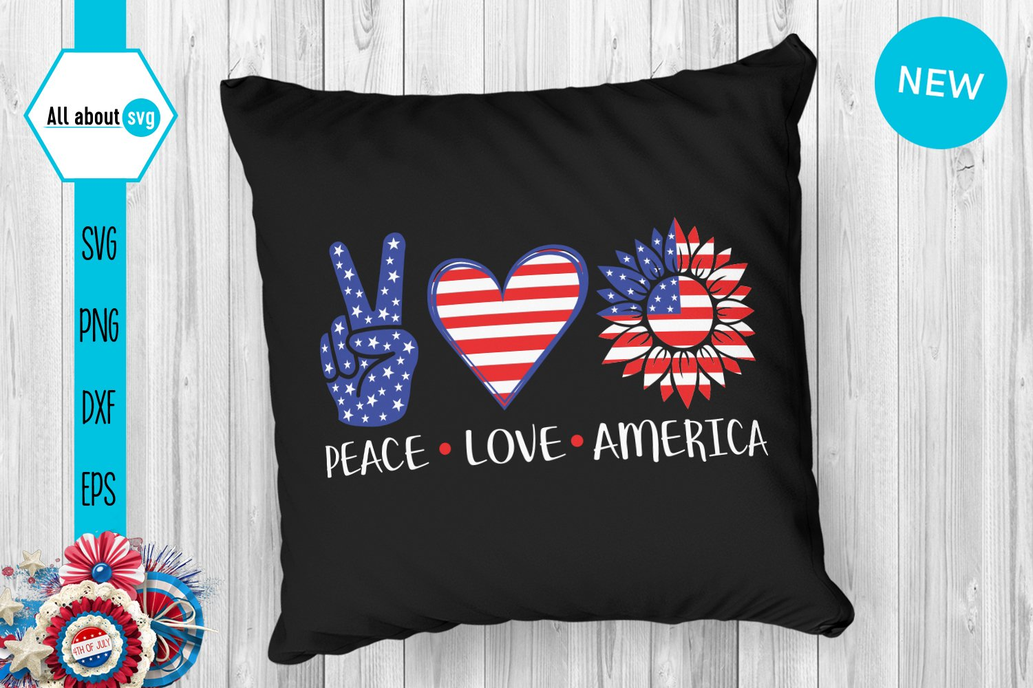 Peace Love America Svg example image 3