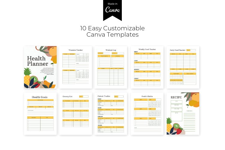 HEALTH PLANNER CUSTOMIZABLE CANVA TEMPLATE example image 2
