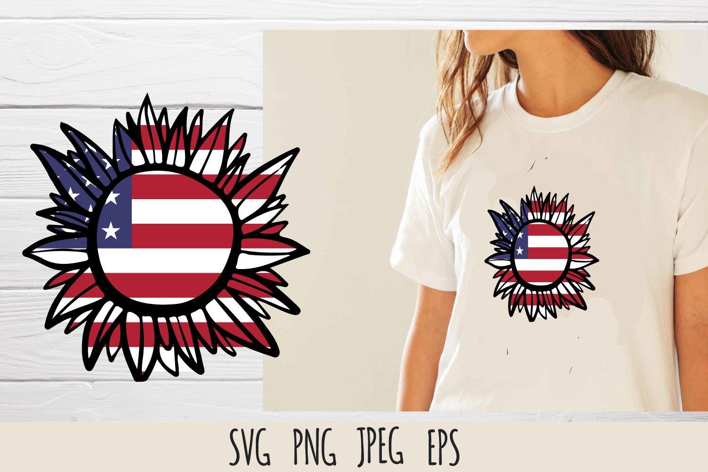 Patriotic sunflower SVG cut file bundle example image 2