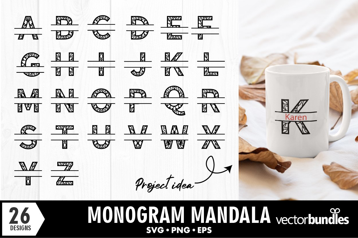 Monogram split letter a to z mandala svg designs example image 1