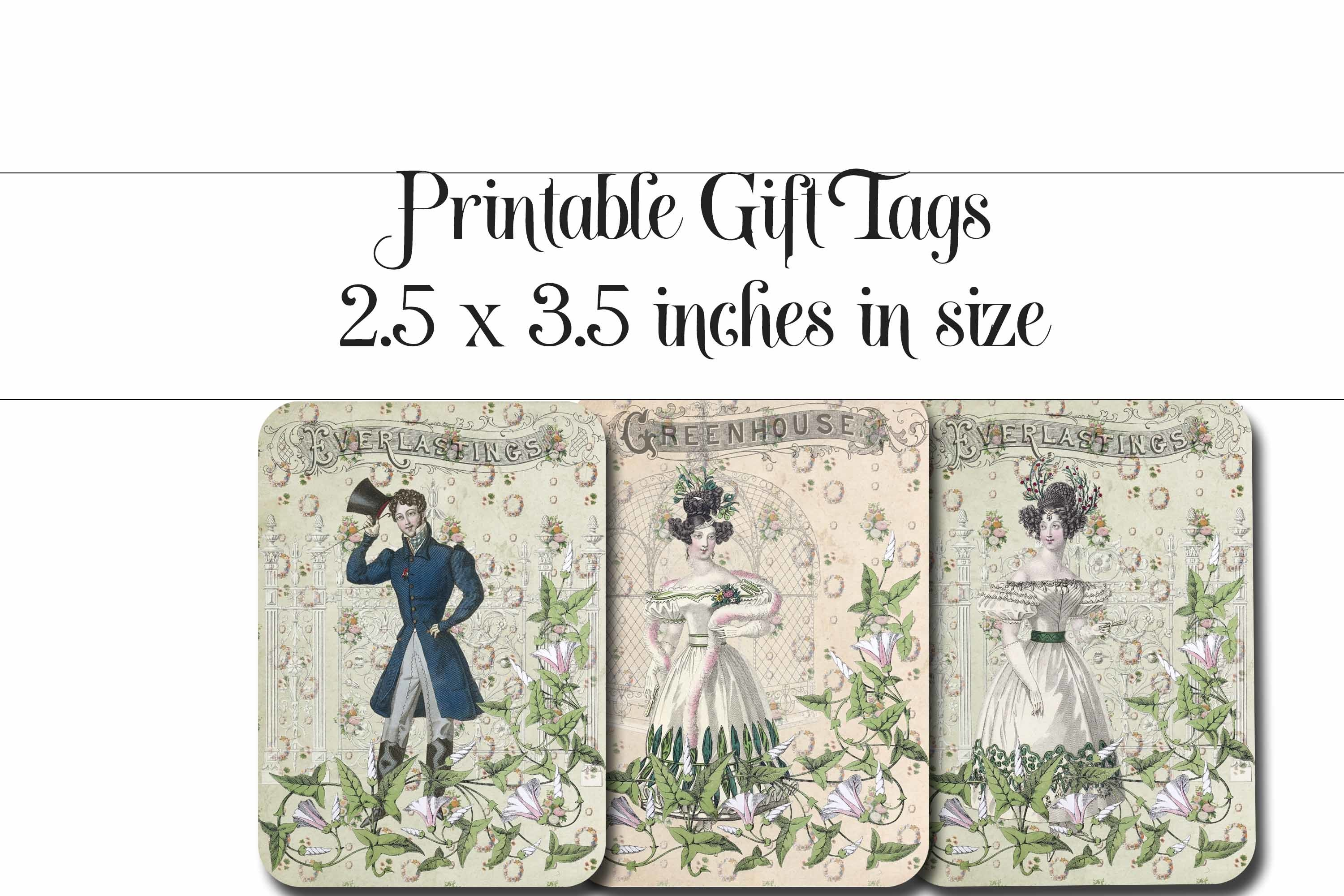 Vintage Garden Party Printable Tags - ATC cards example image 2