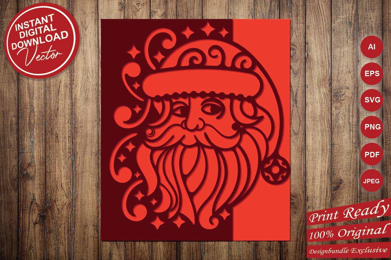 Papercut Christmas Santa Card Cover, Invitation, Spirals example image 4