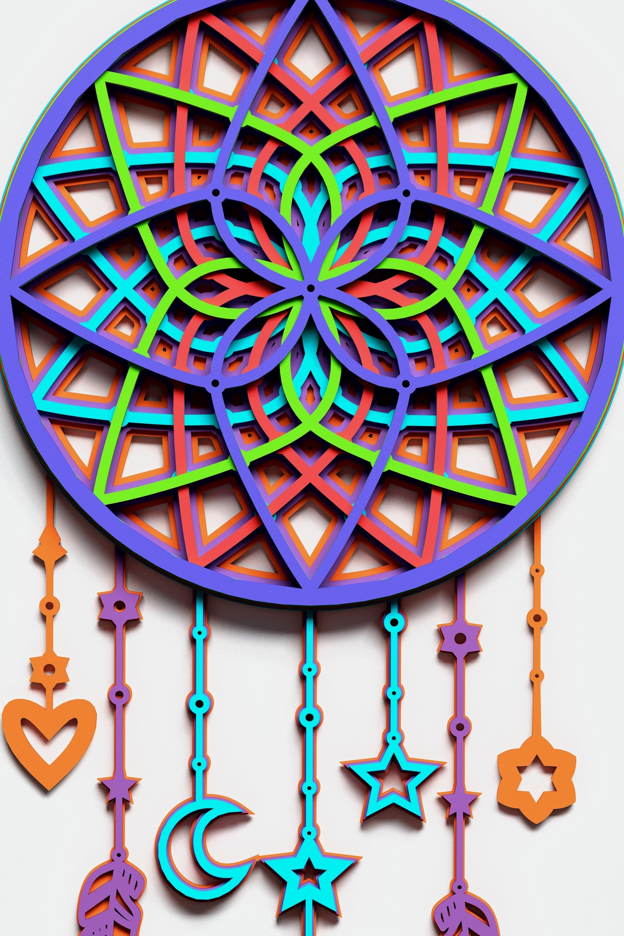 Dream Catcher Multilayer Mandala, Vector file for cutting example image 3