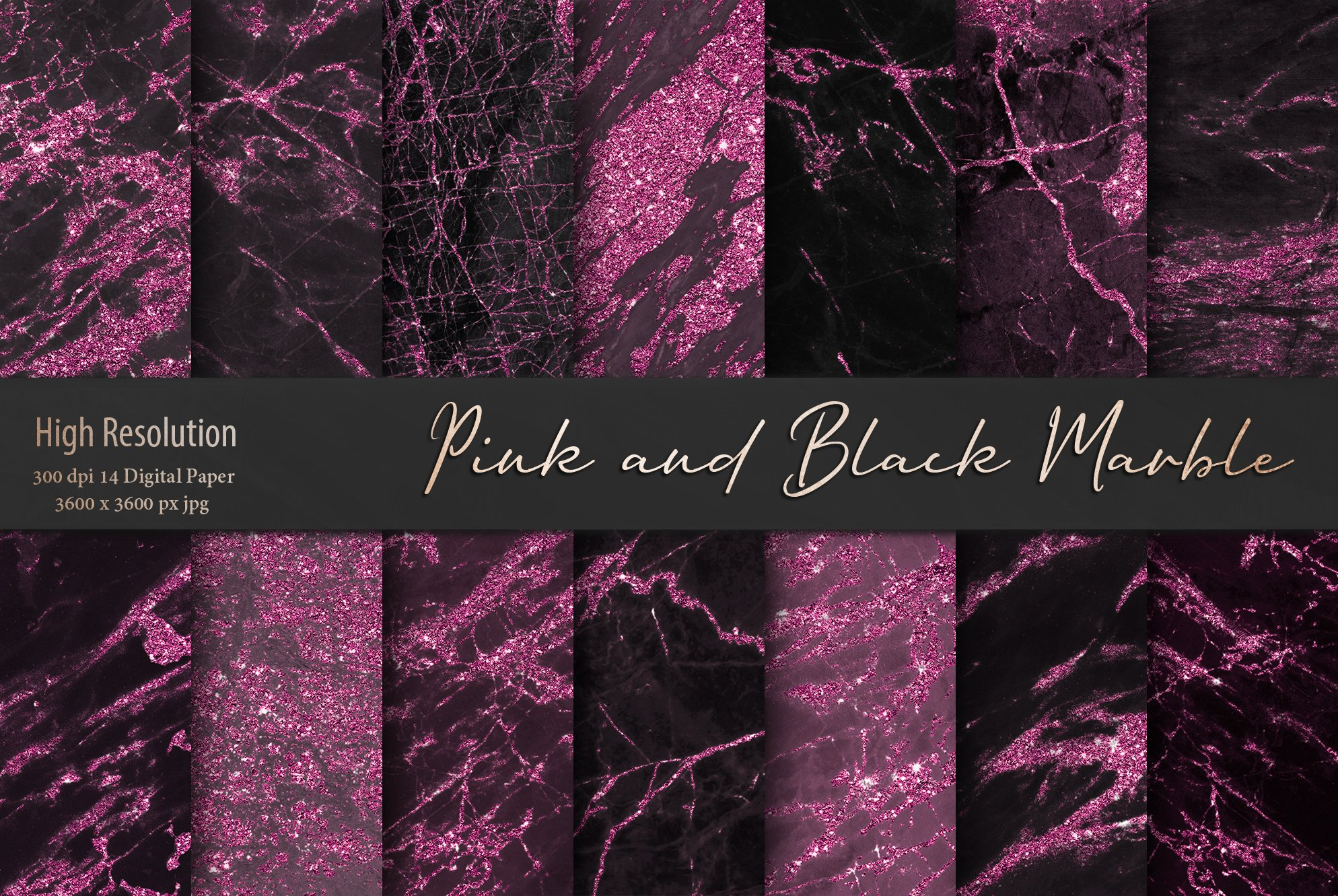 Valentine's Day Pink and Black Marble Textures example image 1