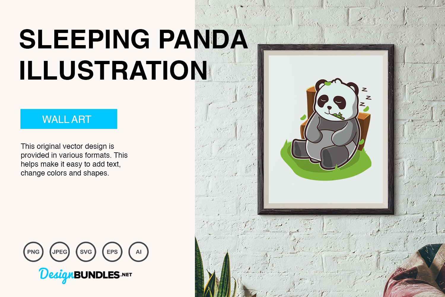 Sleeping Panda Vector Illustration example image 5