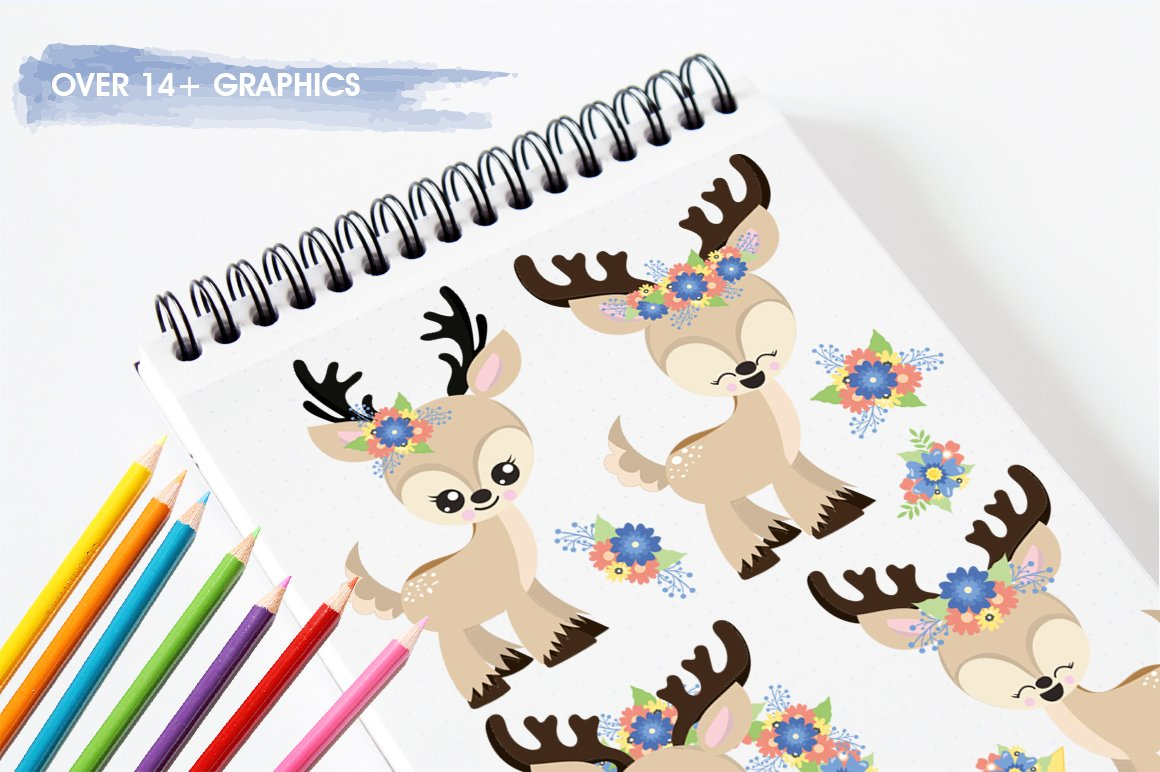 deer flowers antlers Graphics and illustrations, vector example image 3