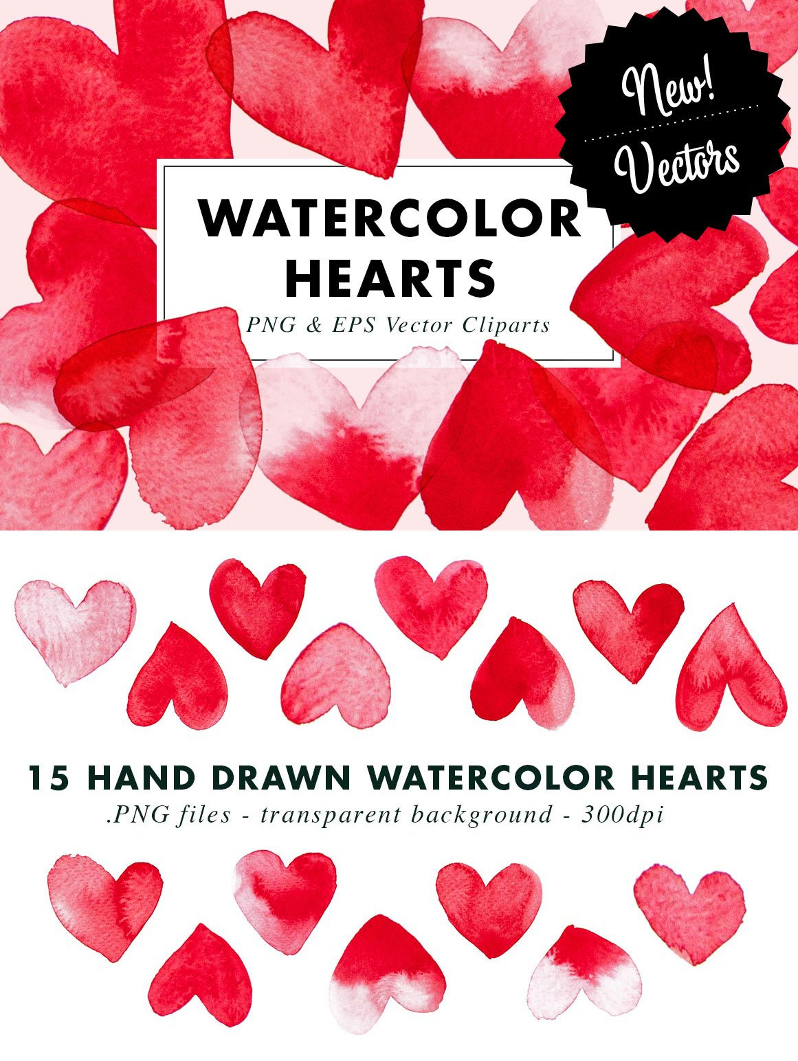 15 Watercolor Heart Illustrations Clipart| PNG & Vector EPS example image 2