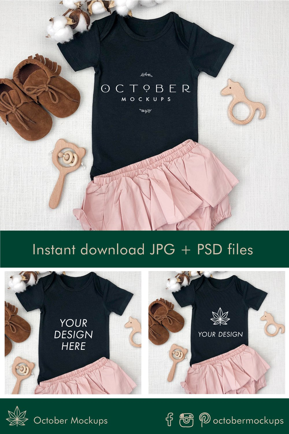 Mockup Baby Onepiece Black in PSD JPG | Sublimation blanks example image 2