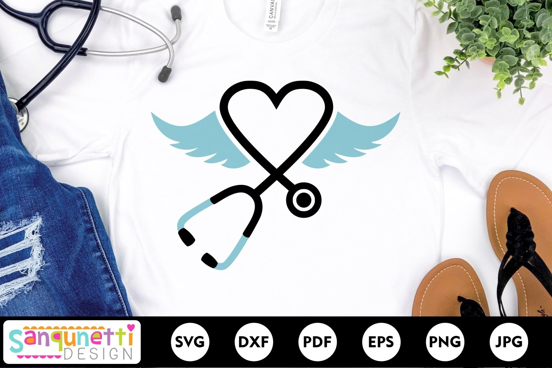 Stethoscope SVG File, nursing angel wings svg example image 1