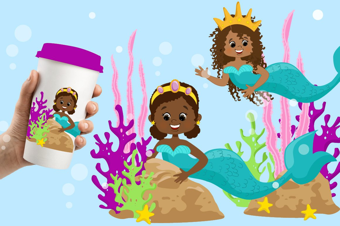 Mermaids Clipart Pack example image 5