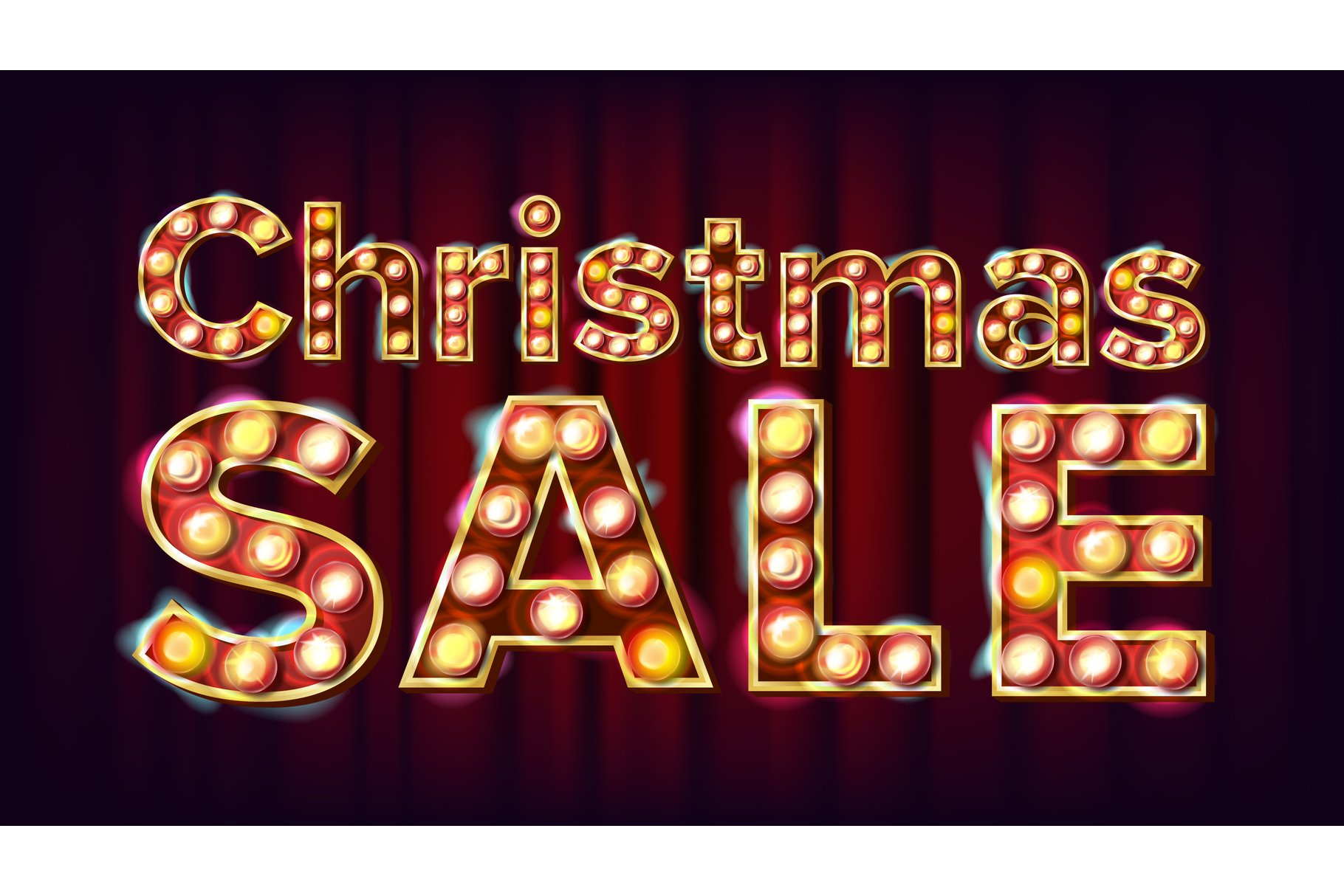 Christmas Sale Sign Vector. 3D Electric Glowing Digit. Flyer example image 1