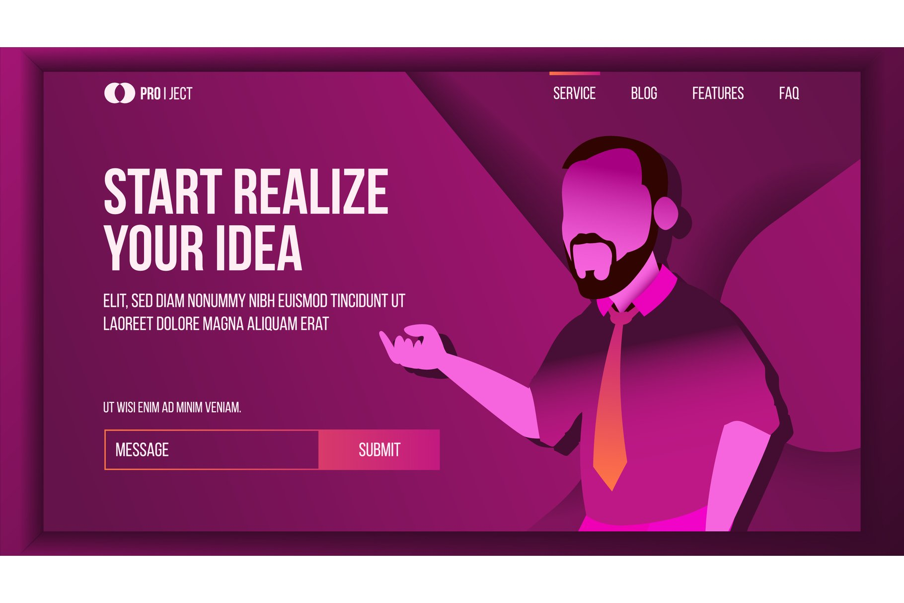 Realize Your Business Landing Page Concept Vector. Creative example image 1