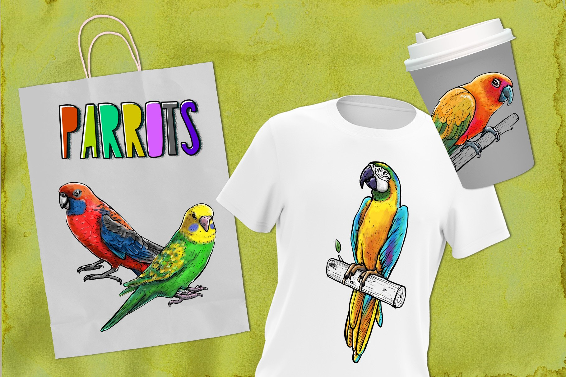 Drawn parrots example image 3