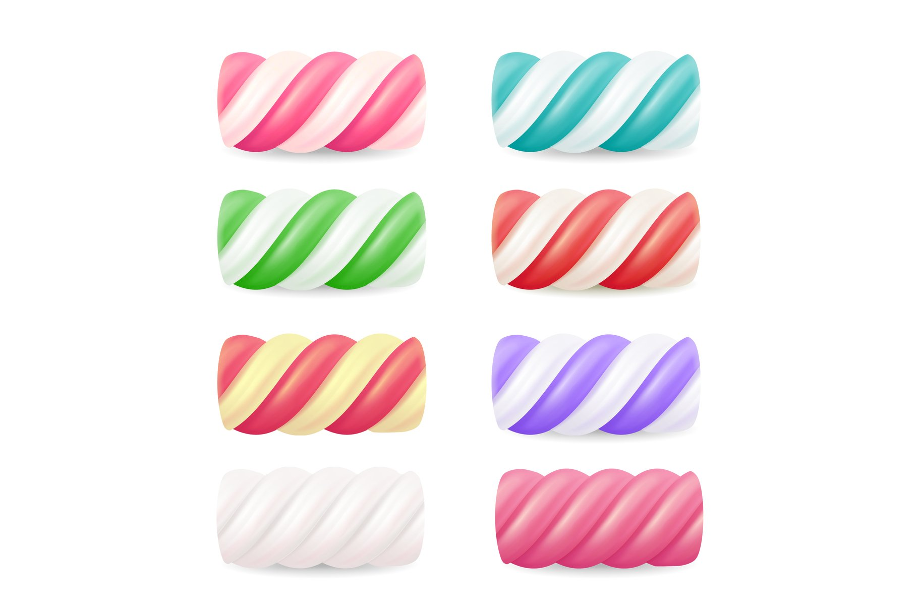 Realistic Marshmallow Candy Vector. Set Colorful Twisted example image 1