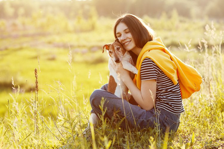 Girl sitting on grass and hugs dog Jack Russell Terrier example image 1