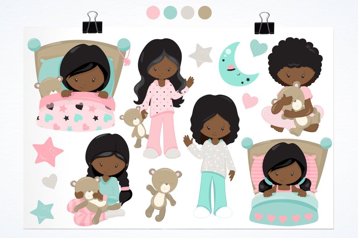 African American Kids bedtime graphics - vectors example image 2