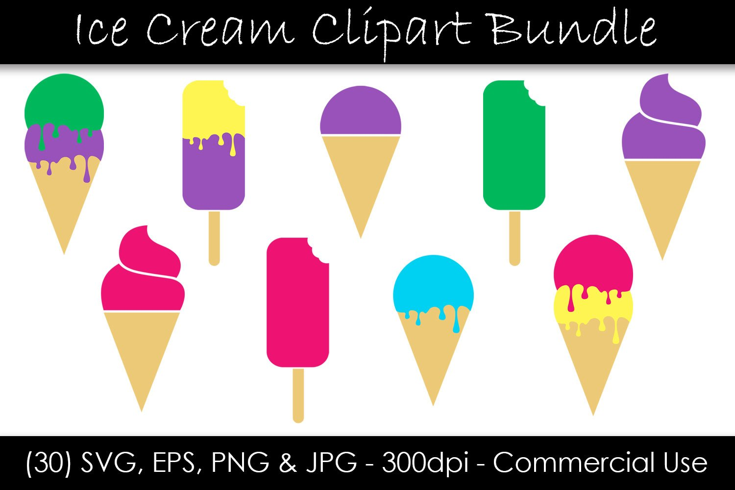 Ice Cream SVG Bundle - Ice Cream Cone & Popsicle Clipart example image 1