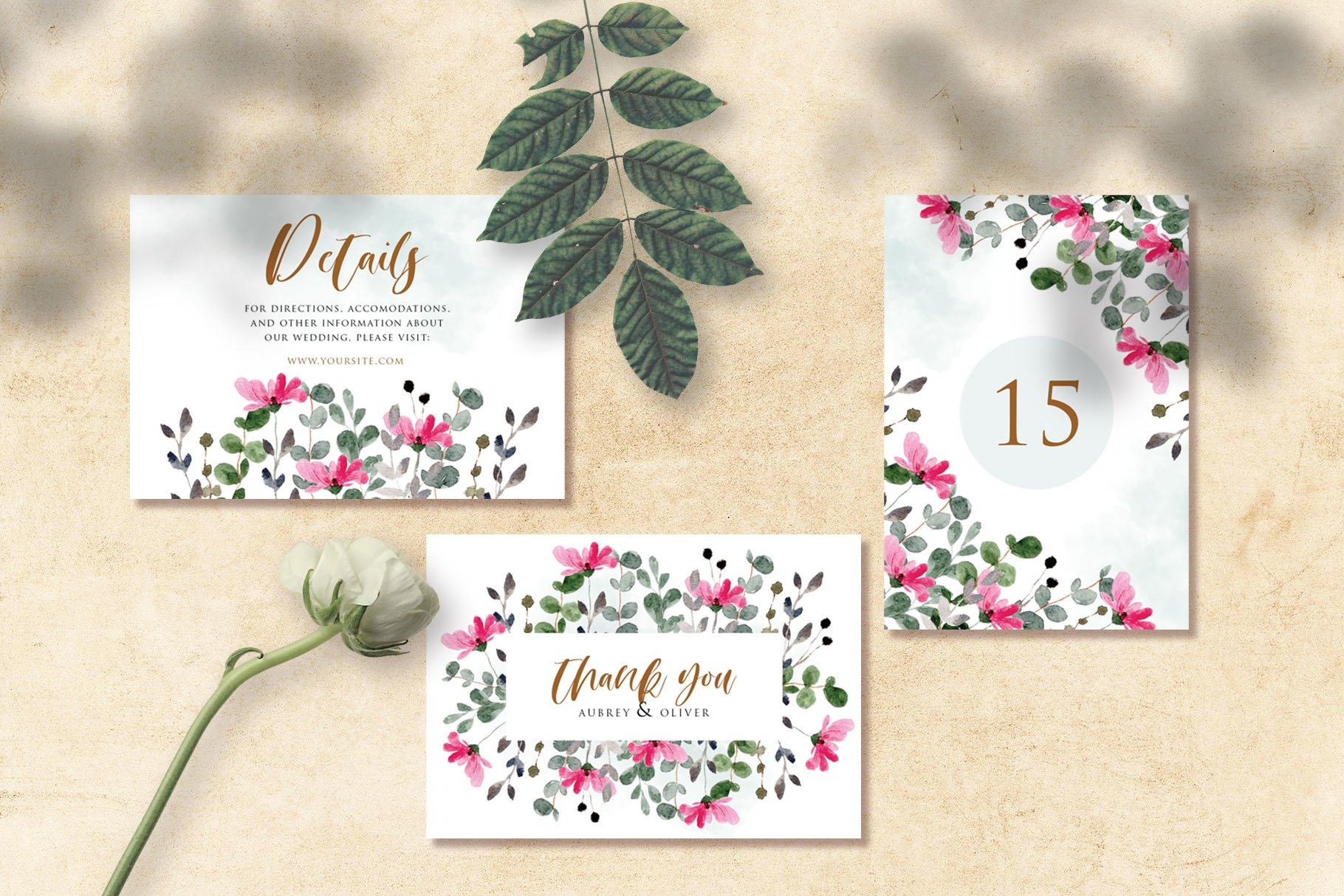 Flower and Leaves Watercolor Wedding Invitation Suite example image 2