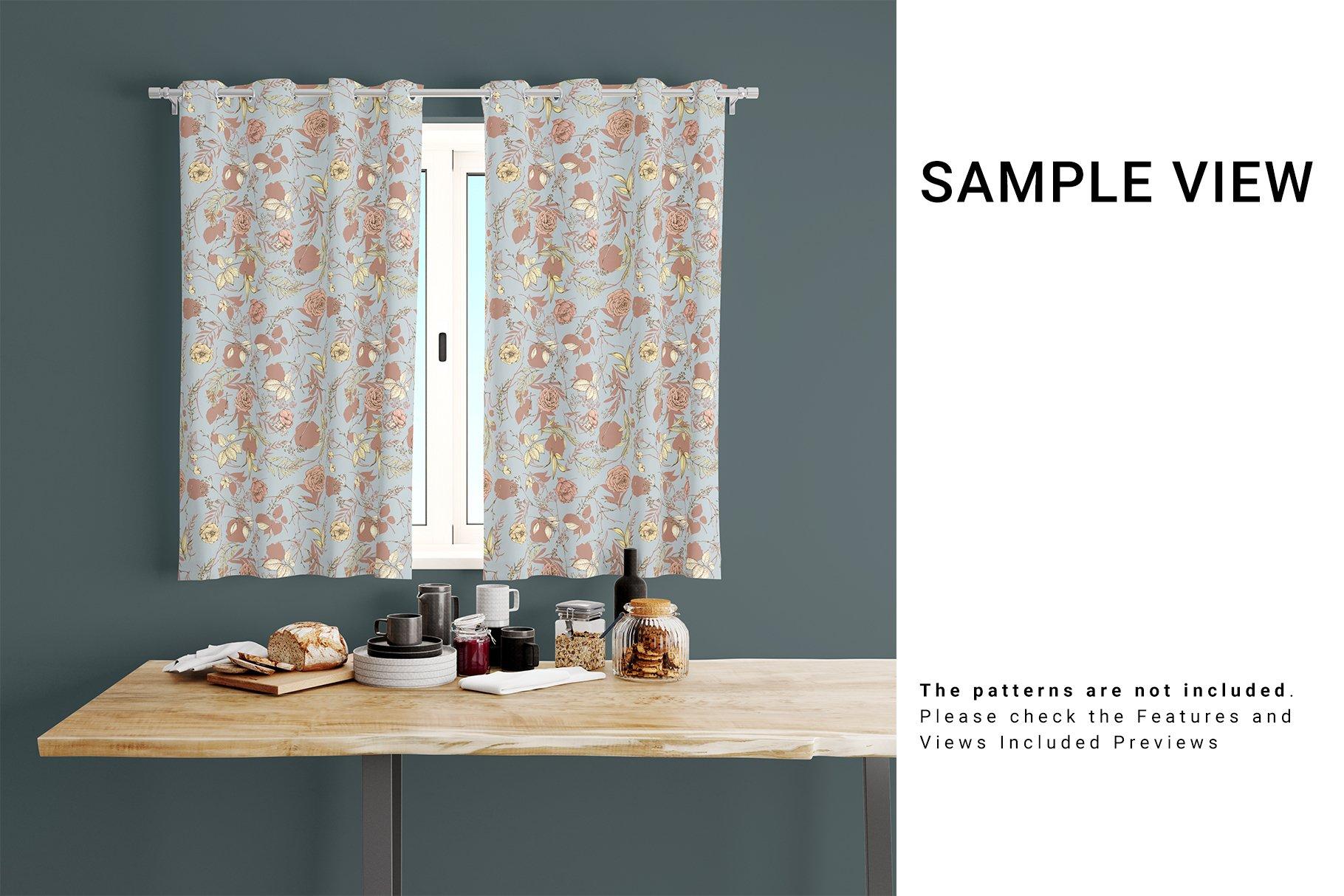 Kitchen Short Curtains Mockup Set example image 7