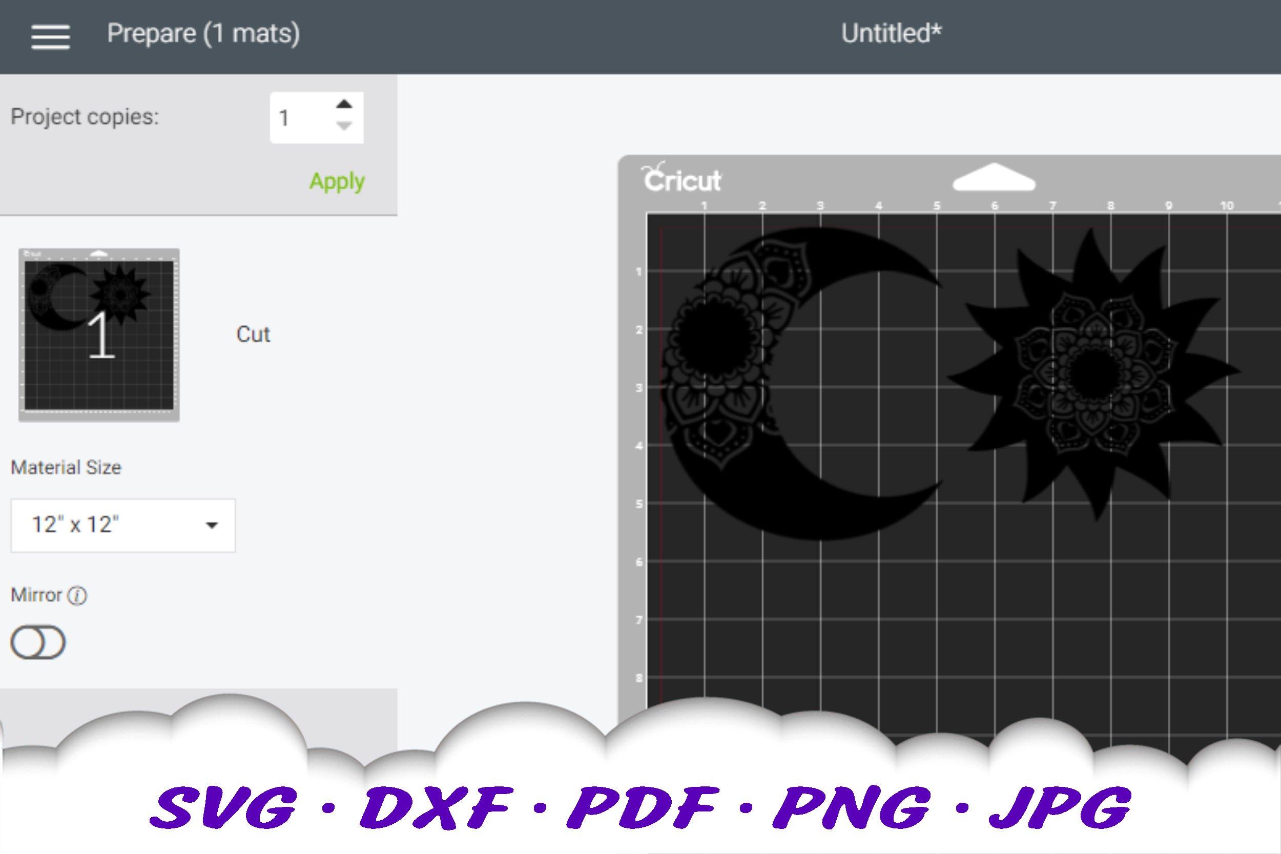 Sun & Moon Celestial Mandala SVG Bundle DXF Cut Files example image 2