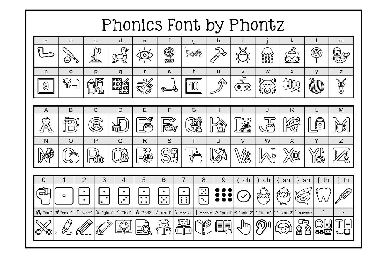 Phonics Fonts Bundle - 8 Clip Art Fonts example image 3