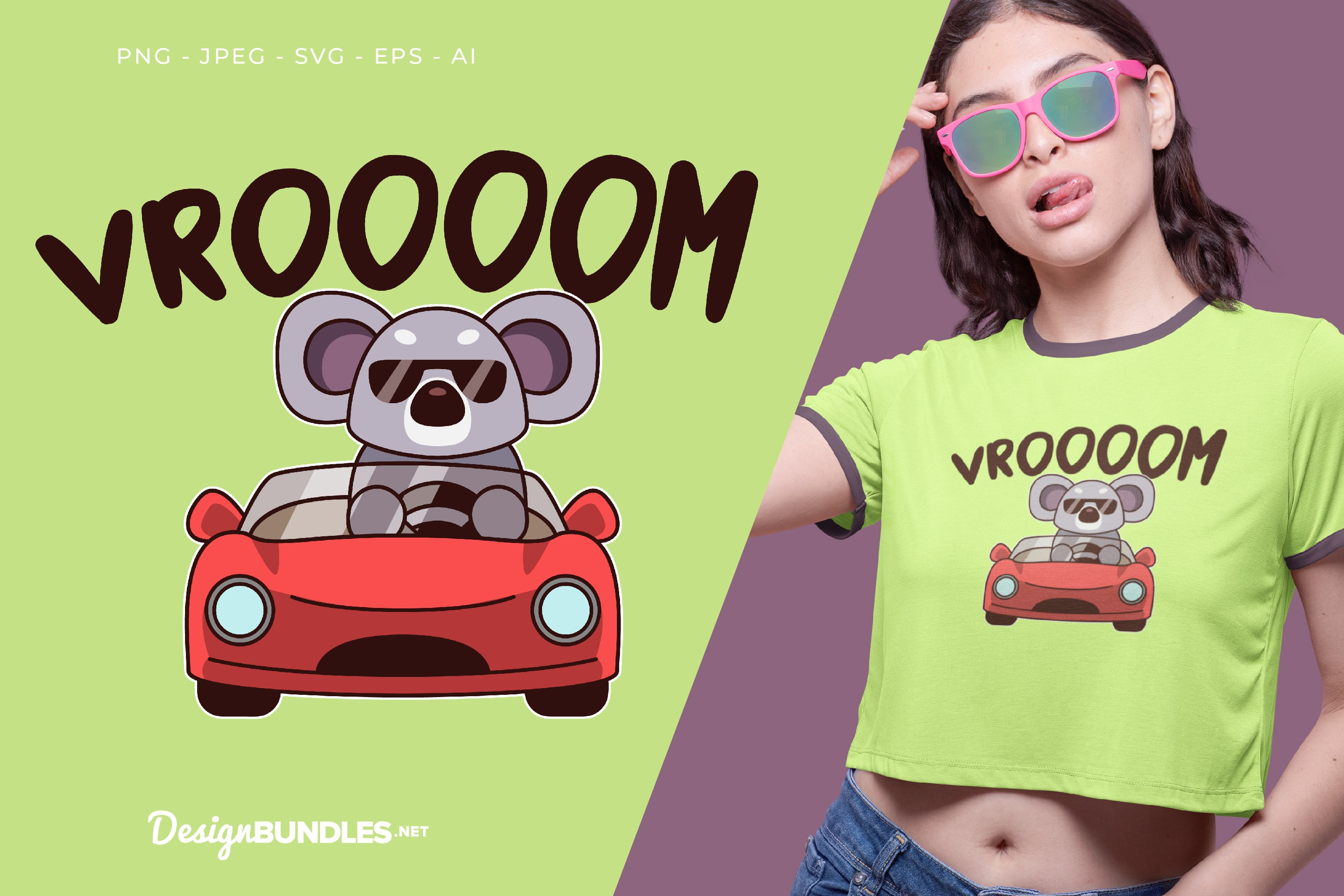 Koala is Driving A Car Vector Illustration For T-Shirt example image 1
